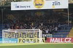 Fotbalisté Zlína (žluté dresy) přivítali doma na Letné brněnskou Zbrojovku