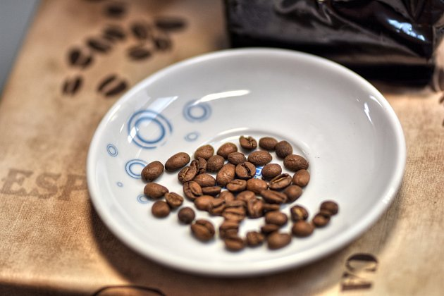 Kávová zrna.