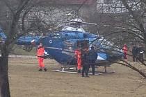 Na Podhoří ve Zlíně přistál vrtulník