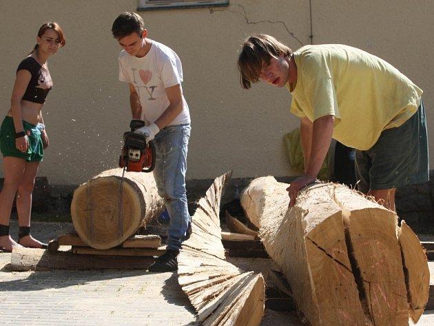 Studentský sochařský workshop DŘEVO 2013 v Baťově vile ve Zlíně.