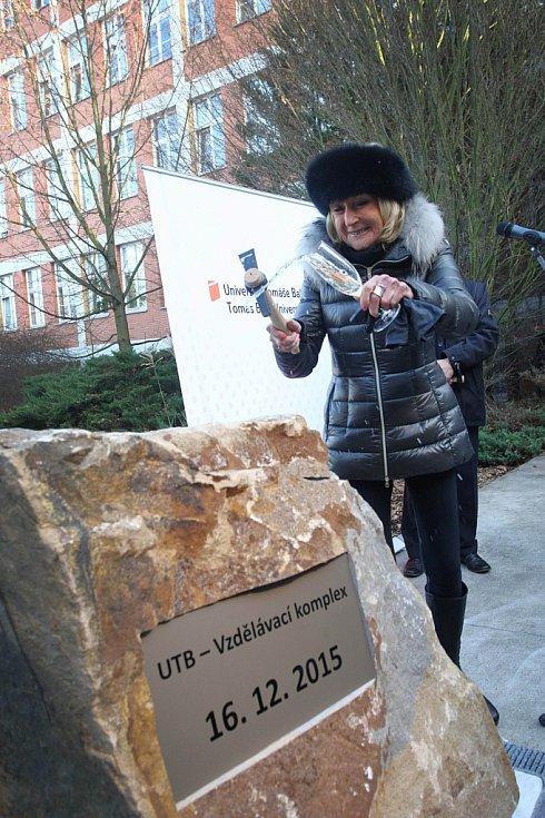 Slavnostní zahájení stavby a poklepání základního kamene Vzdělávacího komplexu UTB ve Zlíně za účasti Evy Jiřičné