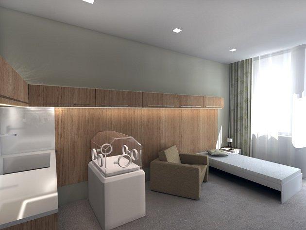 Takto budou vypadat místnosti pro rodiče s předčasně narozenými dětmi v porodnici Baťovy nemocnice po rekonstrukci.