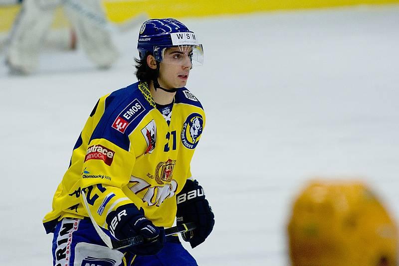 Hokejisté Přerova (ve žlutém) i počtvrté v sezoně 2017/2018 porazili Vsetín. Robert Černý.