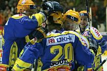 Zlínští hokejisté se radují z gólu
