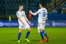 Radost hráčů Zlína, zleva Diego Živulič a Zoran Gajič. Ilustrační foto