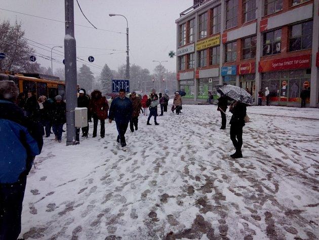 První sněžení ve Zlíně