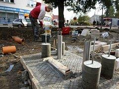 Stavba fontány ve zlínském Sadu Svobody je v plném proudu