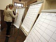 Volby do Evropského parlamentu 2014 ve Zlíně. Sčítání hlasů v galerii Alternativě v Kolektivním domě.