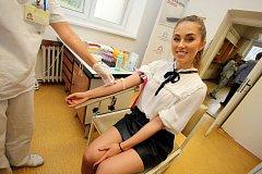 Daruj krev s Miss v  transfuzní stanici  Krajské nemocnice T. Bati ve Zlíně. Michaela Habáňová