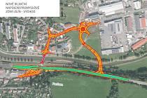 Vizualizace nového napojení průmyslové zóny ve Zlíně.