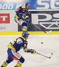 Extraligoví hokejisté Aukro Berani Zlín (v modrém) v pátečním 29. kole hostili Liberec, kterému v první třetině nasázeli tři branky.