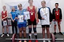 Medailisté starších žáků ( 14 let) , zleva stříbrný Jakub Velísek(Zlín), zlatý Kolář Jan(Holešov) a bronzový Zapalač Jakub(Nový Hrozenkov).