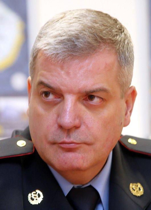 Tisková konference policie ČR ve Zlíně. Jindřich Kučera