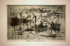 """Vladimír Boudník bez názvu aktivní grafika 1960. Výstava """" Grafika a kresba 60. let ze sbírky KGVUZ"""" krajská galerie ve Zlíně."""