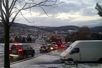 Dopravní kolaps ve Zlíně v pondělí 28. listopadu 2016