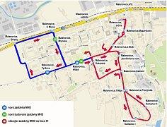 Zákres do mapy (nová část linky 51 je zakreslena modře).
