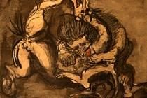 Výstava Špála Čapek Filla Kupka v krajské galerii výtvarného umění ve Zlíně. Emil Filla - Zápas koně se lvem, 1939 tuš, akvarel, tužka papír