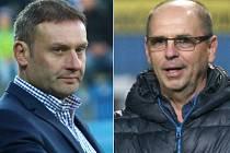 Trenér Slovácka Svatopluk Habanec (vlevo) a trenér Zlína Bohumil Páník