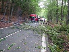Spadlý strom blokoval v obou směrech hlavní silnici mezi městy Zlín a Vsetín
