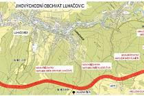 Trasa plánovaného obchvatu Luhačovic.