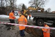 Oprava kanalizace v  ulici Hradská ve Zlíně.