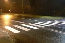 Místo v Okružní ulici ve Zlíně, kde auto srazilo dvě ženy a dvě dětí. 30. 12.2020