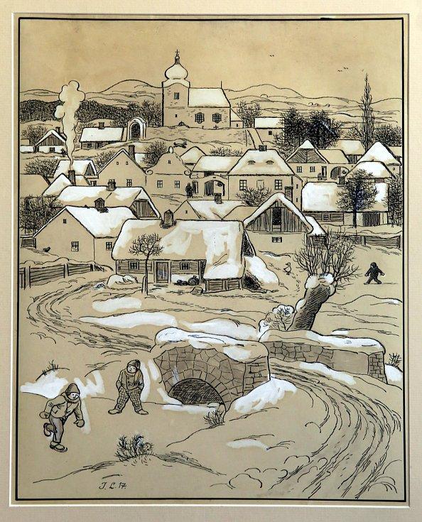 Výstava Velikáni českého umění ve Filmovém uzlu ve Zlíně.Josef Lada Vesnice s kostelíkem 1917