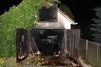 Požár garáže v Otrokovicích-Kvítkovicích