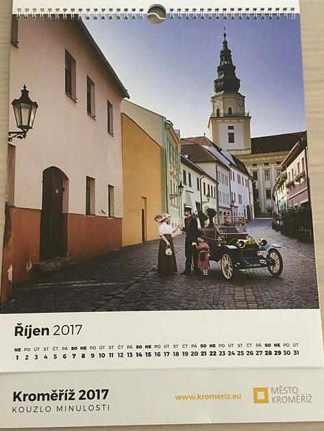 Nástěnný kalendář města Kroměříž pro rok 2017pod názvem Kouzlo minulosti