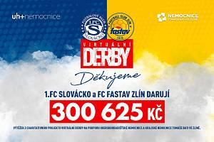 Virtuální derby mezi Zlínem a Slováckem vyneslo nemocnicím více než tři sta tisíc korun .