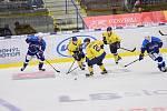 Hokejisté Zlína (ve žlutých dresech) na Kometu Brno nevyzráli ani podruhé v přípravě. Ve čtvrtek večer nepomohlo srovnání 11 vteřin před koncem zápasu.