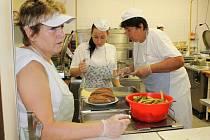 Zlínská Jídelna Plhák vyrábí denně stovky obědů. Ve středu 18. července 2012 tam kuchaři připravovali sekanou pečeni s bramborou kaší, jako druhé jídlo vuřtíkový guláš s chlebem.