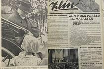 Archivní noviny z doby pohřbu TGM