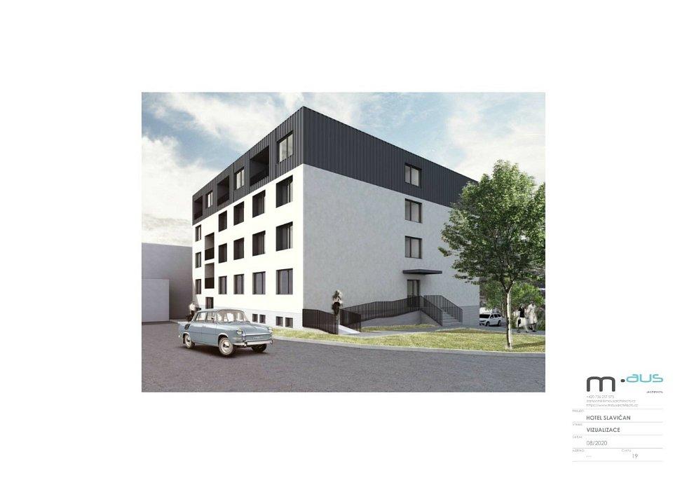 Navržená rekonstrukce hotelu Slavičan dle studie architekta Ondřeje Zámečníka.