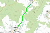 ÚSEK V OPRAVĚ. Zelená linka názorně vykresluje, které části se oprava týká.