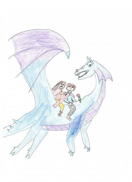 Ilustrace kpovídce Zamrzlé jezero a sněžný drak.