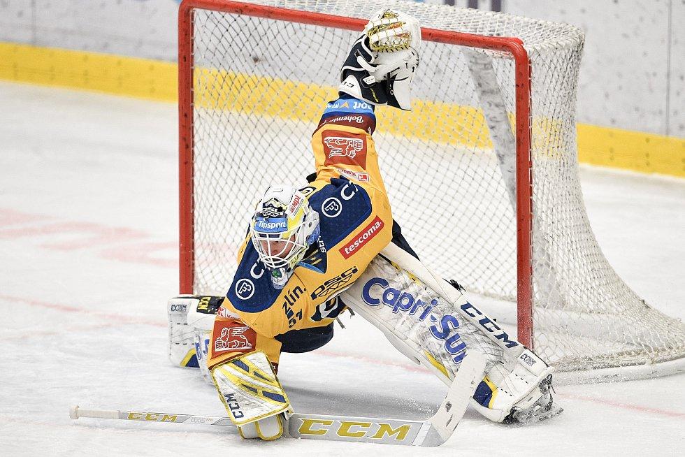 Utkání 10. kola hokejové extraligy: HC Vítkovice Ridera - PSG Berani Zlín, 9. února 2021 v Ostravě. Brankář Daniel Huf ze Zlína.