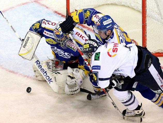 Hokej HC Bílí Tygři - PSG Zlín (v modrožlutém)