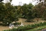 Vytrvalý déšť ve Zlínském kraji zaplavil cesty, zvedl hladiny řek. Otrokovice.