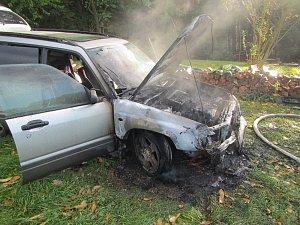 Požár auta u Neubuzi