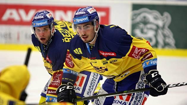 Hokejisté Zlína (ve žlutých dresech). Dominik Lakatoš.