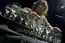 Alexander Zoltán, hudebník, který hraje na skleněnou harfu – 22 skleniček s vodou, předvedl své umění ve zlínském kongresovém centru na plese studentů UTB.