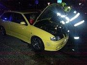 Následky požáru auta v Otrokovicích