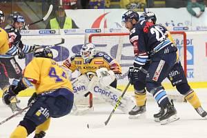 Extraligoví hokejisté Zlína (ve žlutém) v rámci 19. kola doma hostili Liberec.