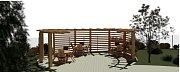 Vizualizace plánované pergoly z výtěžku Kabelkového veletrhu ve Zlíně.