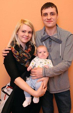Vítání dětí 15.1.2016na radnici ve Zlíně. Vladimír a Barbora Morozov se synem Matija.