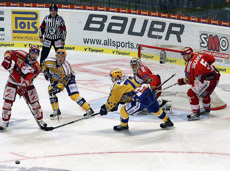 Extraligoví hokejisté Zlína se v úvodním střetnutí čtvrtfinálové série play off se svým soupeřem pražskou Slávií nepárali.