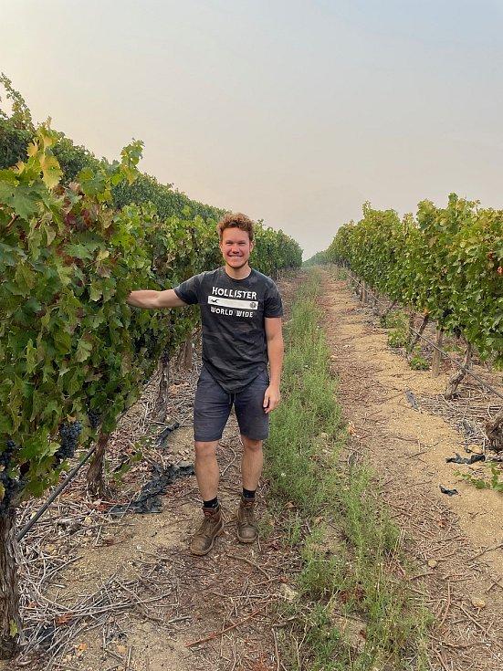 Daniel Pešat se svým vínem v Jižní Africe.
