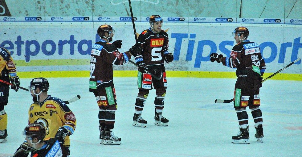 Hokejisté PSG Berani Zlín hráli v předehrávce 11. kola proti pražské Spartě.