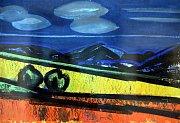 Výstava  František Chmelař   Malíř, který psal básně v  galerii Václava Chada ve Zlíně. Na snímku Krajina  1965 pastel a tempera